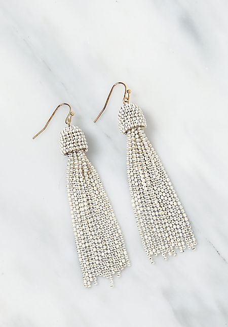 Ivory Beaded Tassel Earrings