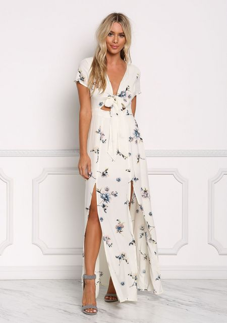 Ivory Floral Tie Front Two Slit Maxi Dress