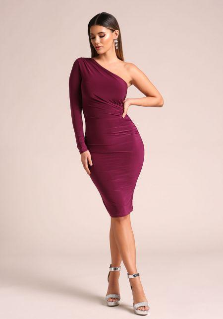 Magenta One Shoulder Ruched Bodycon Dress