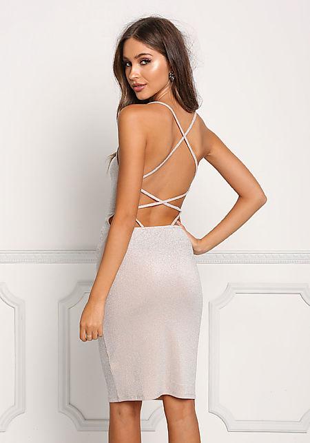 Champagne Sparkle Cross Back Strap Bodycon Dress