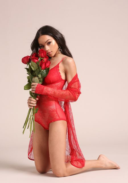 Red Floral Lace Lingerie Robe