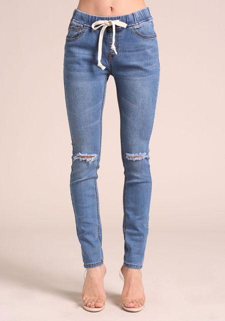 Blue Drawstring Knee Slit Skinny Jeans