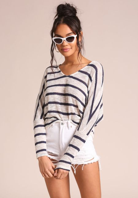 White and Navy Stripe Hi-Lo Knit Top