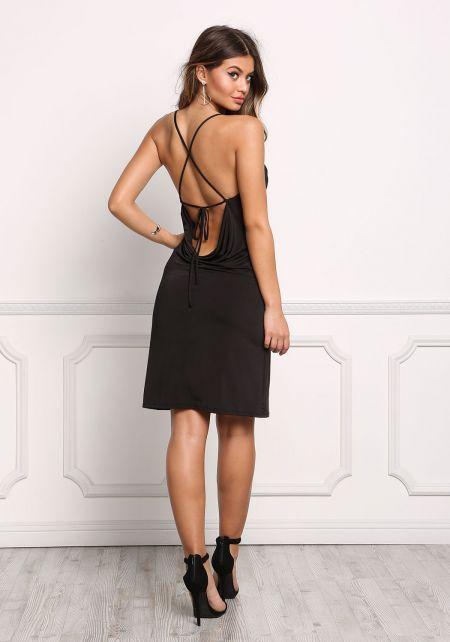 Black Cross Strap Low Back Bodycon Dress