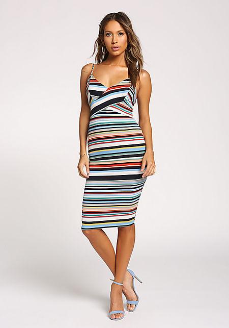 Multi Stripe Cross Over Bodycon Dress