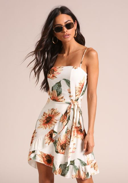 Ivory Sunflower Flared Faux Wrap Dress