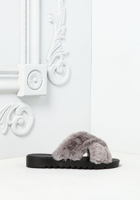 Grey Crossover Faux Fur Slide Sandals