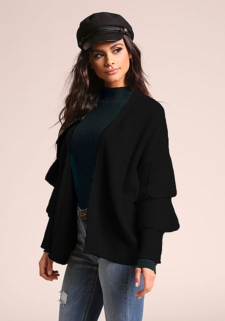 Black Tiered Bell Sleeve Knit Cardigan