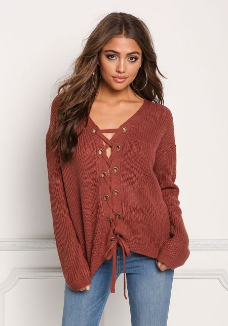 Mauve Lace Up Thick Knit Sweater