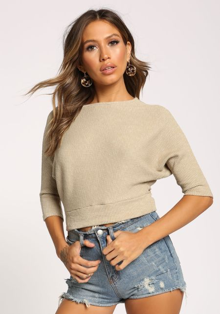 Taupe Dolman Ribbed Knit Crop Top