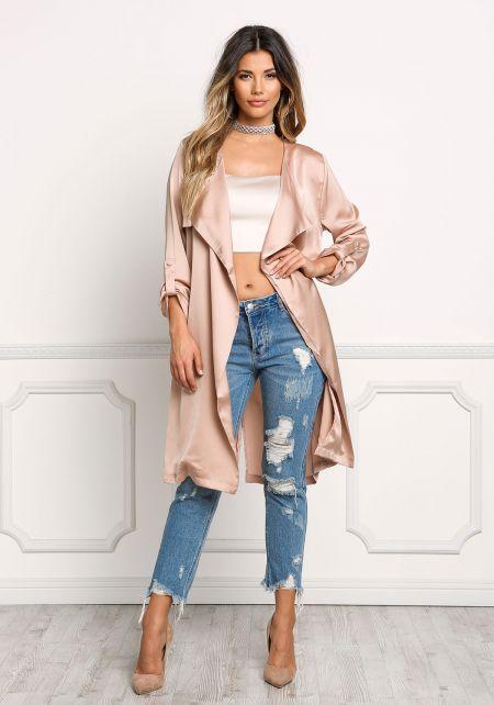 Blush Satin Layered Light Duster Coat