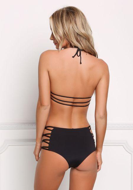 Black Multi Strap Halter Swimsuit Bikini Top