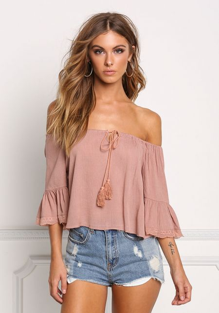 Mauve Crepe Lace Off Shoulder Blouse