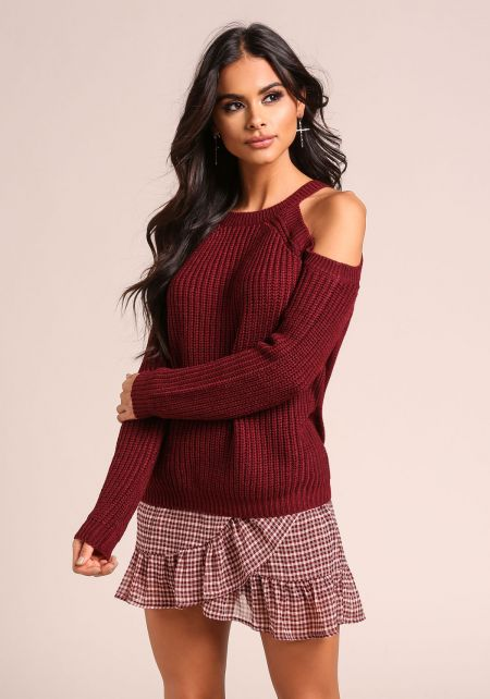 Burgundy Cold Shoulder Thick Knit Sweater Top