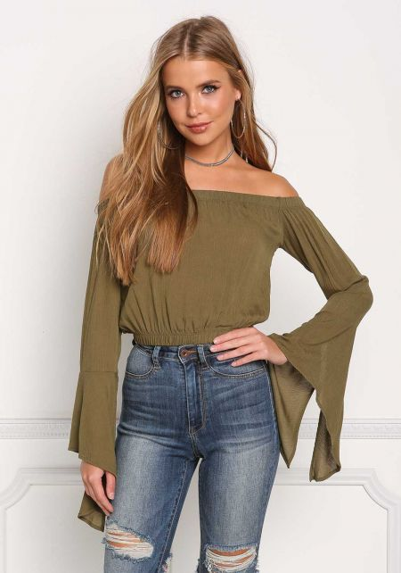 Olive Off Shoulder Crepe Bell Sleeve Blouse