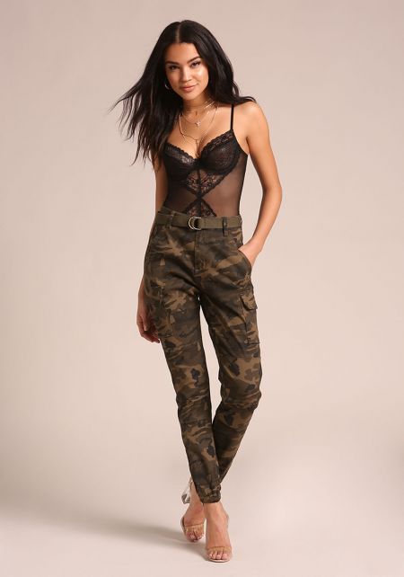Olive Camo Belted Cargo Jogger Pants