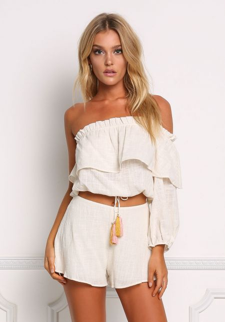Ivory Crepe High Rise Shorts