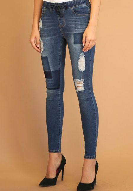 Dark Blue Patched & Distressed Drawstring Jeans