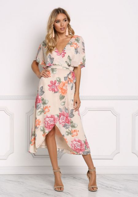 Sand Floral Cross Strap Wrap Maxi Dress