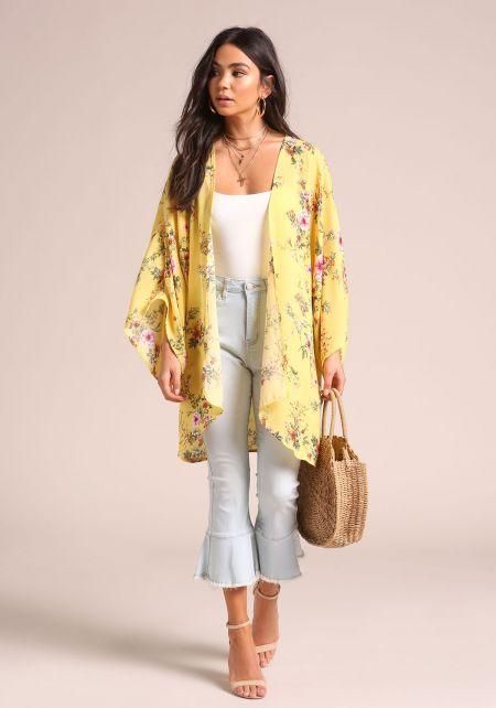 Yellow Floral Wide Sleeve Kimono