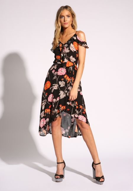 Black Floral Ruffle Faux Wrap Midi Dress