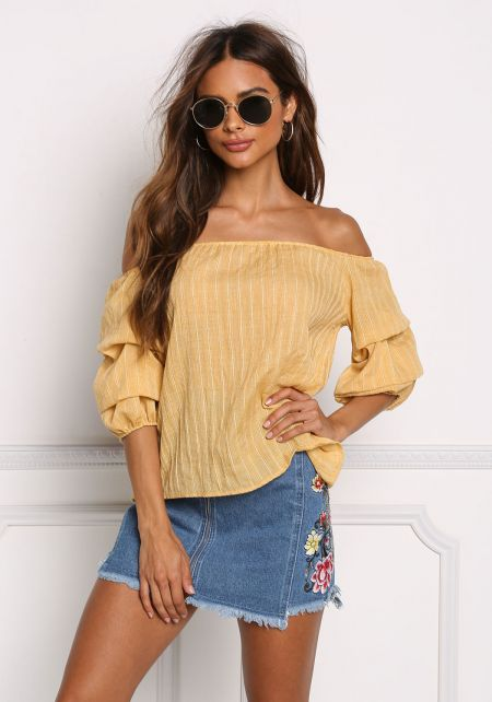 Yellow Crepe Off Shoulder Ruched Blouse