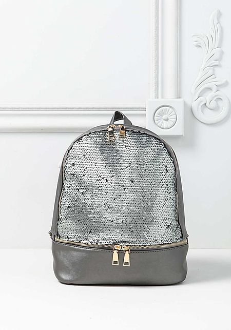 Heather Grey Sequin Leatherette Zipper Backpack