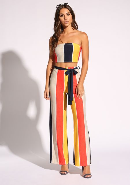 Multi Color Block Waist Tie Palazzo Pants