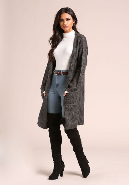 Charcoal Longlined Thick Knit Pocket Cardigan