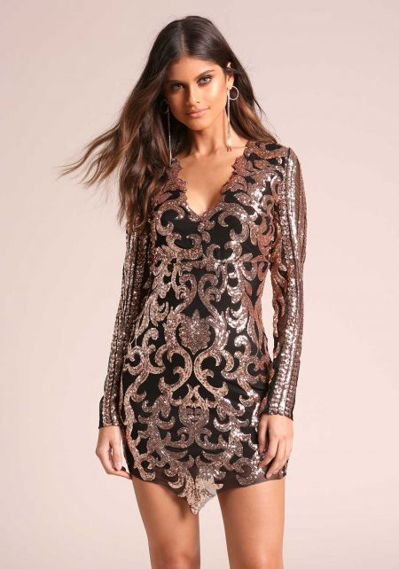 Gold and Black Sequin Brocade Pointed Bodycon Dres