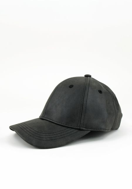 Black Suedette Baseball Cap