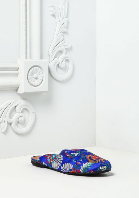 Blue Silky Embroidered Floral Slides