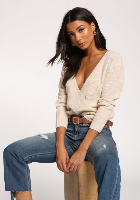 Cream Wide V Surplice Sweater Top