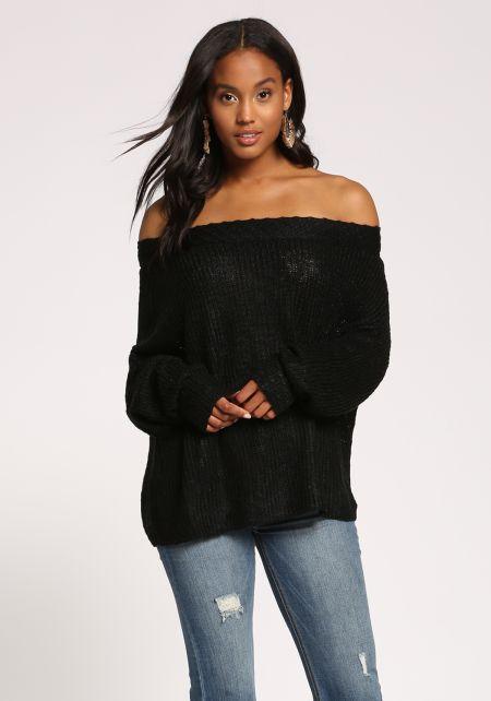 Black Off Shoulder Puff Sleeve Sweater Top