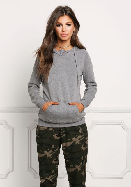 Heather Grey Kangaroo Pocket Hooded Sweater