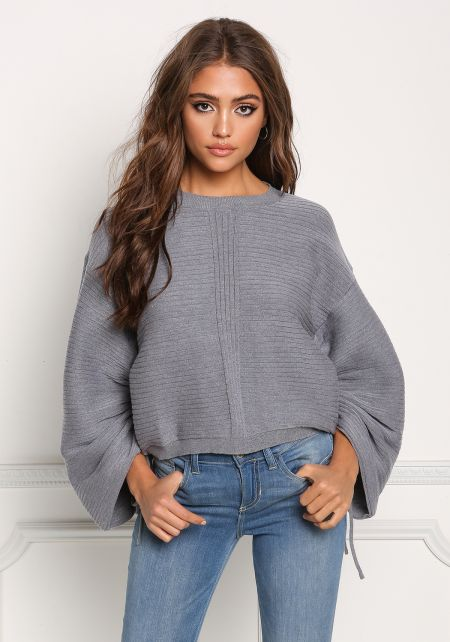 Heather Grey Ruched Sleeve Ribbed Knit Sweater Top