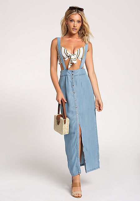 Denim Overalls Slit Maxi Dress
