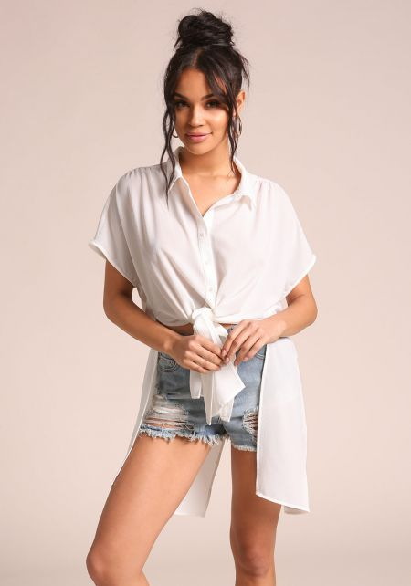 White Button Up Tie Front Blouse