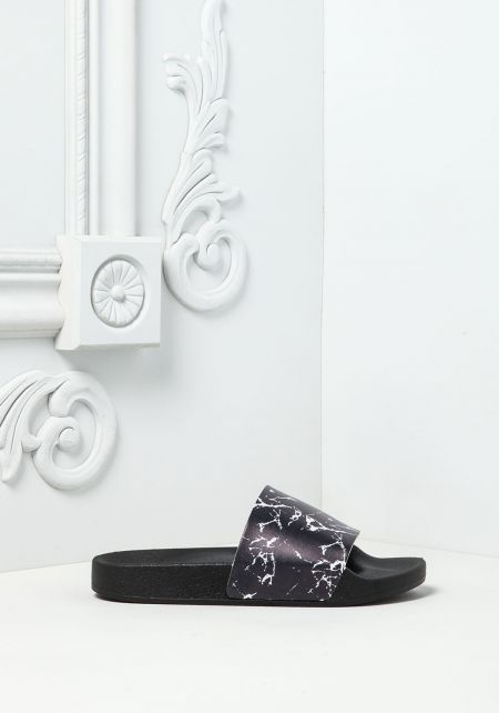 Black Marble Print Slide Sandals