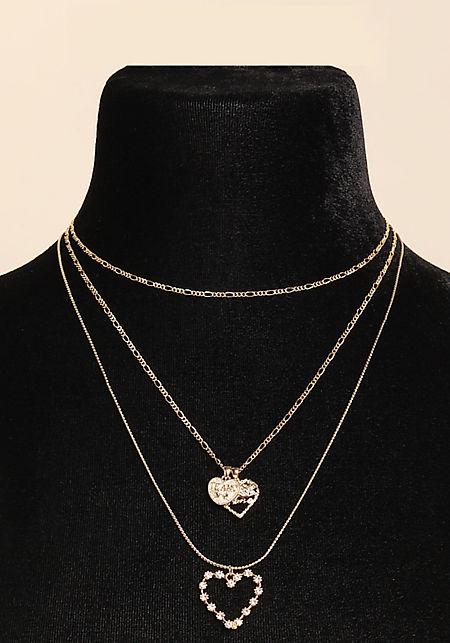 Gold Rhinestone Heart Layered Choker