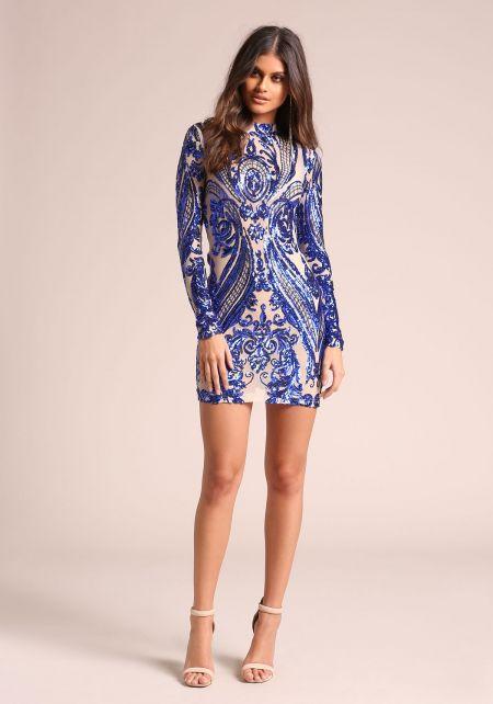 Royal Blue Sequin Brocade Mesh Bodycon Dress