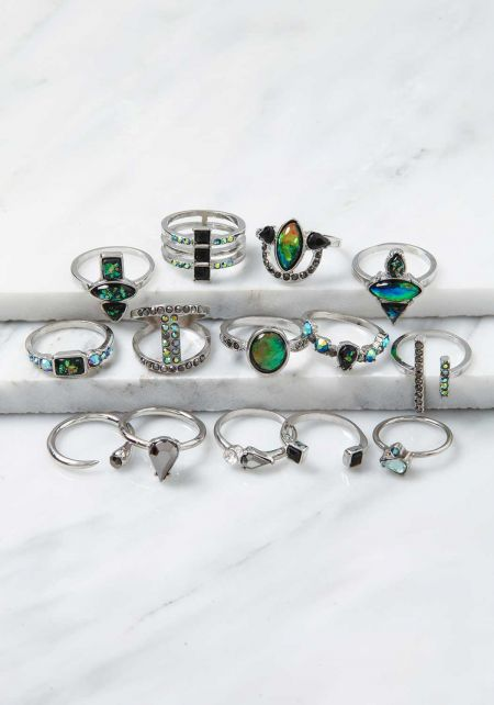 Silver Iridescent Stone Assorted Rings Set