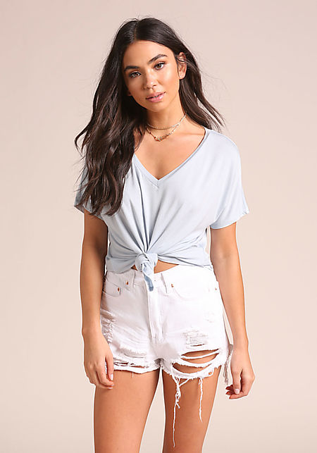Baby Blue Knotted Jersey Knit Cropped Tee