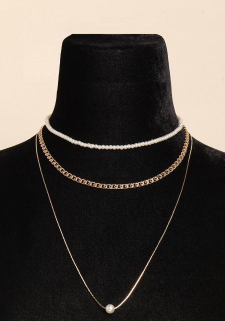 Gold Pearl Layered Chain Necklace