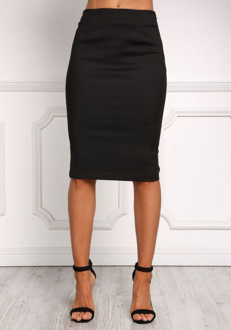 Black High Rise Minimalist Pencil Skirt