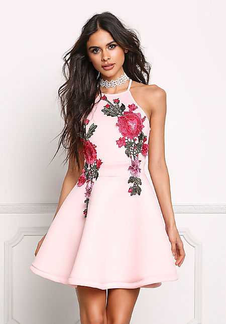 Light Pink Rose Applique Flared Dress