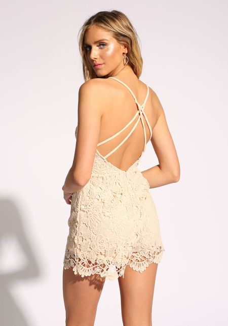 Blush Embroidered Cross Strap Romper