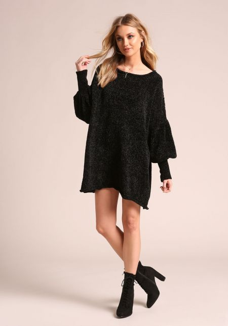 Black Chunky Knit Puff Sleeve Tunic Sweater
