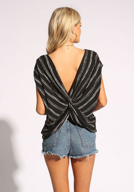 Black Twisted Back Pinstripe Blouse