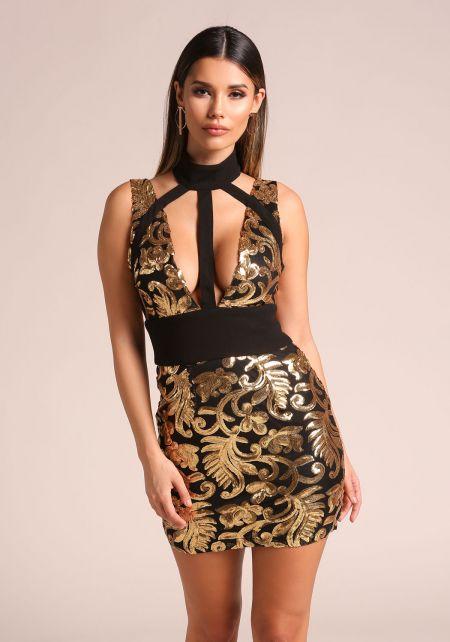 Gold Sequin Plunge Multi Strap Bodycon Dress